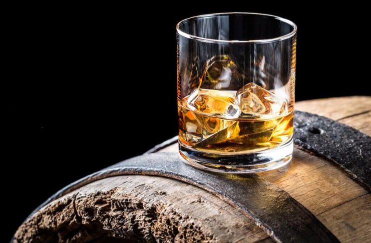 whiskey on barrel