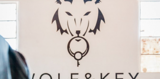 wolf and key logo wall art