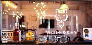 wolf and key logo with glasses
